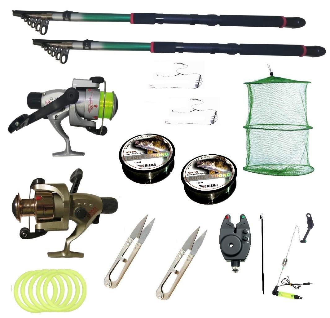 Kit pescuit sportiv cu doua lansete 2.4m EastShark, doua mulinete Cobra si accesorii imagine techstar.ro 2021