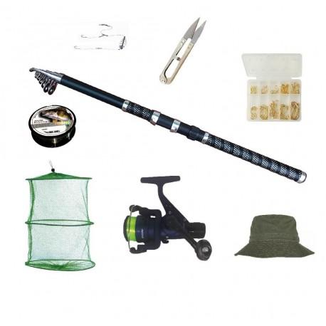Set complet de pescuit cu lanseta EagleKing de 3.6 m, mulineta DPR200, juvelnic, guta, si accesorii