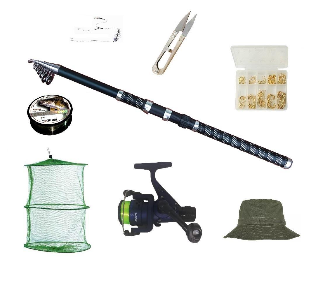 Set complet de pescuit cu lanseta EagleKing de 3 m, mulineta DPR200, juvelnic, guta, si accesorii