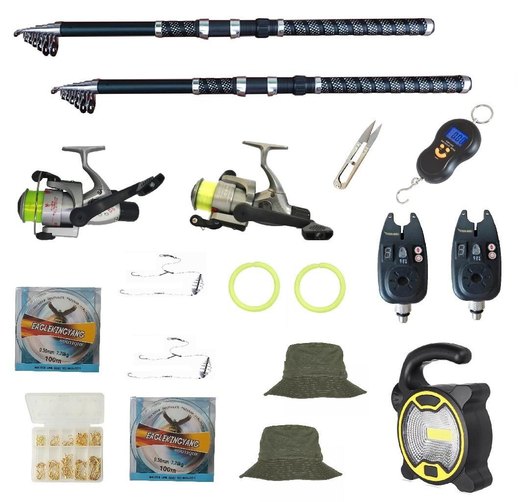 Set de pescuit cu 2 lansete Eagle King 3,6m, doua mulinete cobra, 2 senzori, proiector solar si accesorii imagine techstar.ro 2021