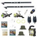 Set de pescuit cu 2 lansete Eagle King 2.7m, doua mulinete cobra, 2 senzori, proiector solar si accesorii