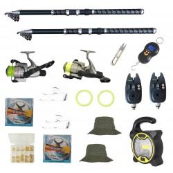 Set de pescuit cu 2 lansete Eagle King 3m, doua mulinete cobra, 2 senzori, proiector solar si accesorii