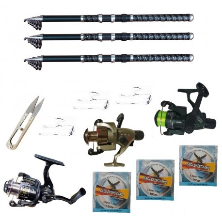 Set pescuit sportiv cu 3 lansete 2.7 m Ultra Carp, 3 mulinete, trei gute, monturi si foarfeca