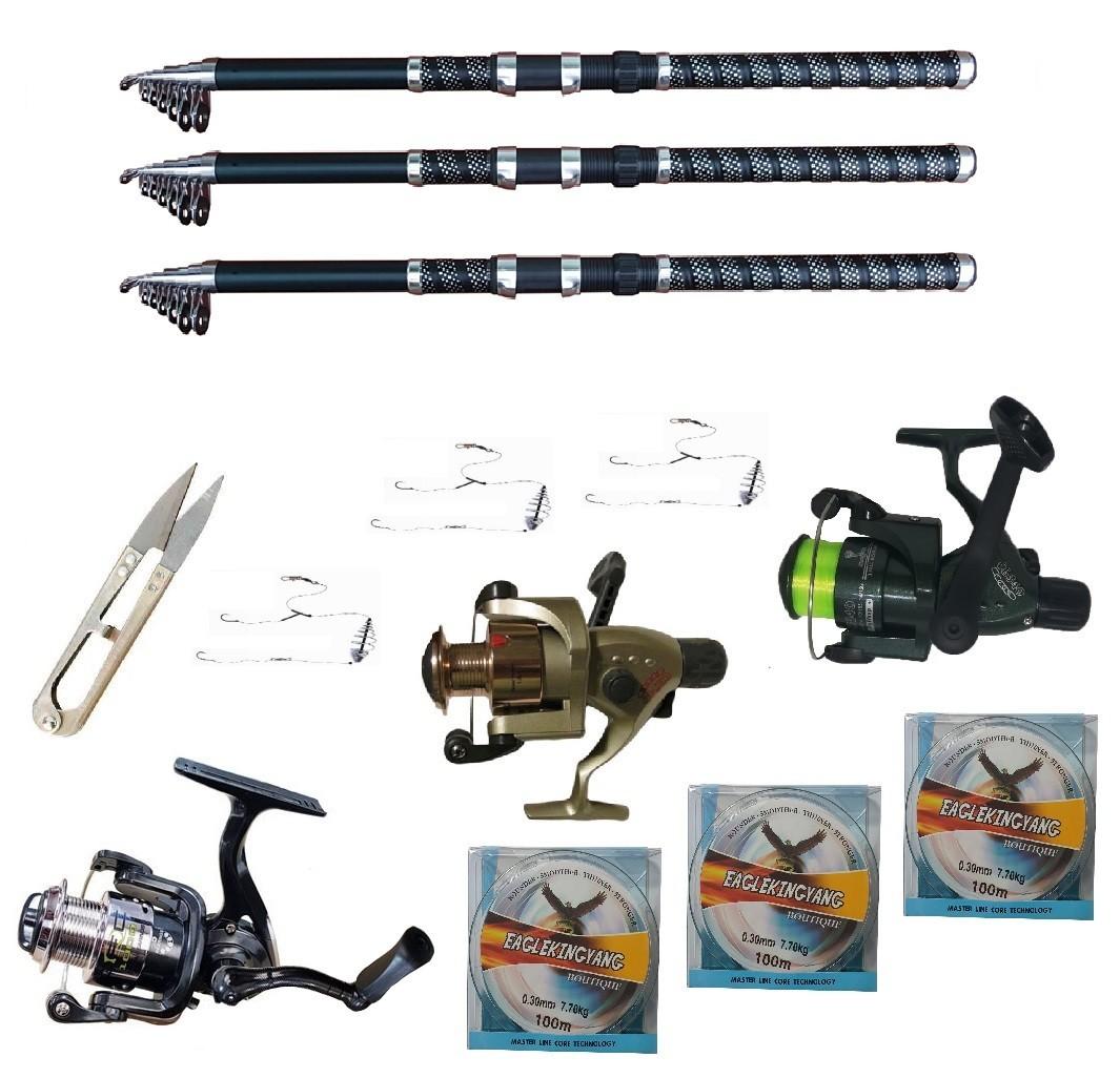 Set pescuit sportiv cu 3 lansete 3 m Ultra Carp, 3 mulinete, trei gute, monturi si foarfeca
