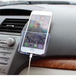 suport auto pentru mobil transparent cu gaura cablu incarcare +cadou