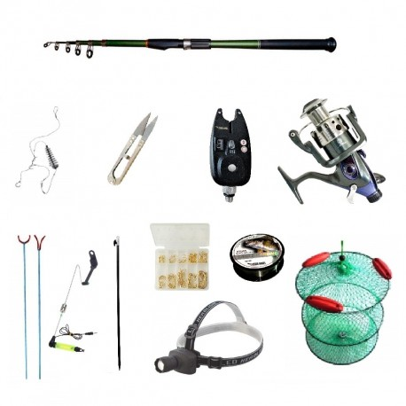 Set pescuit sportiv cu lanseta carbon 3,6m cool angel, mulineta baitrunner bobo2000, senzor, lanterna si acces