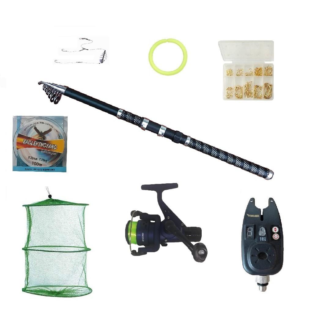 Set pescuit sportiv cu lanseta Ultra Carp 3m, mulineta dpr200, guta 0,30mm, senzor si accesorii