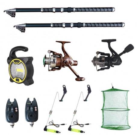 Set pescuit sportiv 2 lansete Ultra Carp 3,6m, proiector solar, 2 mulinete, 2 senzori cool angel, swingeri si