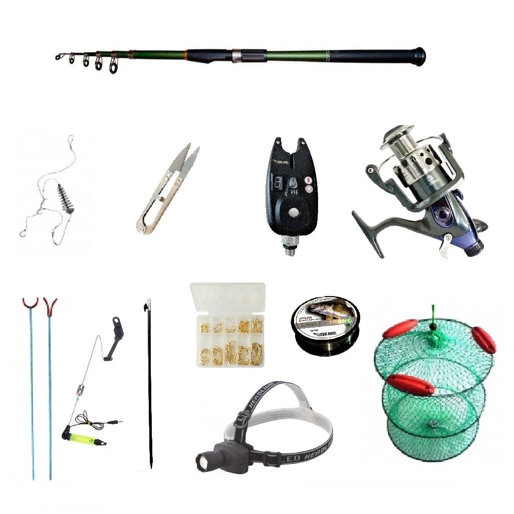 Set pescuit sportiv cu lanseta carbon 3m cool angel, mulineta baitrunner bobo2000, senzor, lanterna si accesor imagine techstar.ro 2021