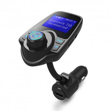 Modulator FM Techstar® T22, Wireless, Bluetooth 4.2, Microfon Integrat, Quick Charge, Afisare Voltaj, Slot MicroSD, AUX