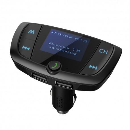 Modulator FM Techstar® T38, Wireless, Bluetooth 4.2,Microfon Integrat, FM Transmitator, Voltaj Baterie, USB, Slot MicroSD