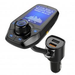 Modulator FM Techstar® T26D, Ecran LCD, Wireless, Bluetooth 4.2, Microfon Integrat, Quick Charge 3.0, Slot MicroSD, AUX IN/OUT