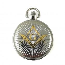 Ceas de buzunar masonic Argintiu cu simbol Auriu - MM894