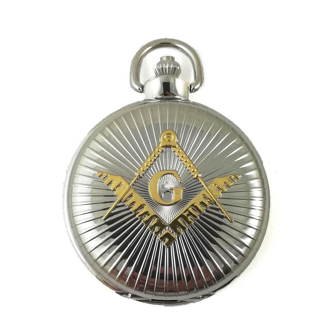 Ceas de buzunar masonic Argintiu cu simbol Auriu - MM894 imagine techstar.ro 2021