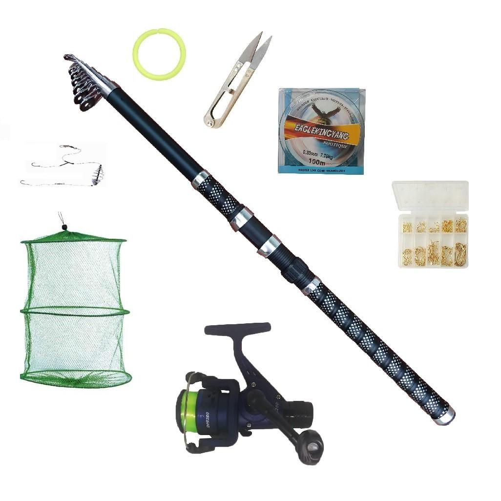 Set pescuit sportiv complet cu lanseta UltraCarp 2,4m, mulineta Dpr200, guta si accesorii