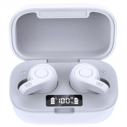 Casti Smart Techstar® TWS S11S , Wireless, Bluetooth V5.0, IPX6, HD Audio, Touch, iOS, Android, Type-C, Alb