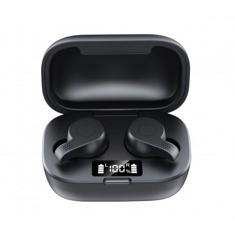 Casti Smart Techstar® TWS S11S , Wireless, Bluetooth V5.0, IPX7, HD Audio, Touch, iOS, Android, Type-C, Negru