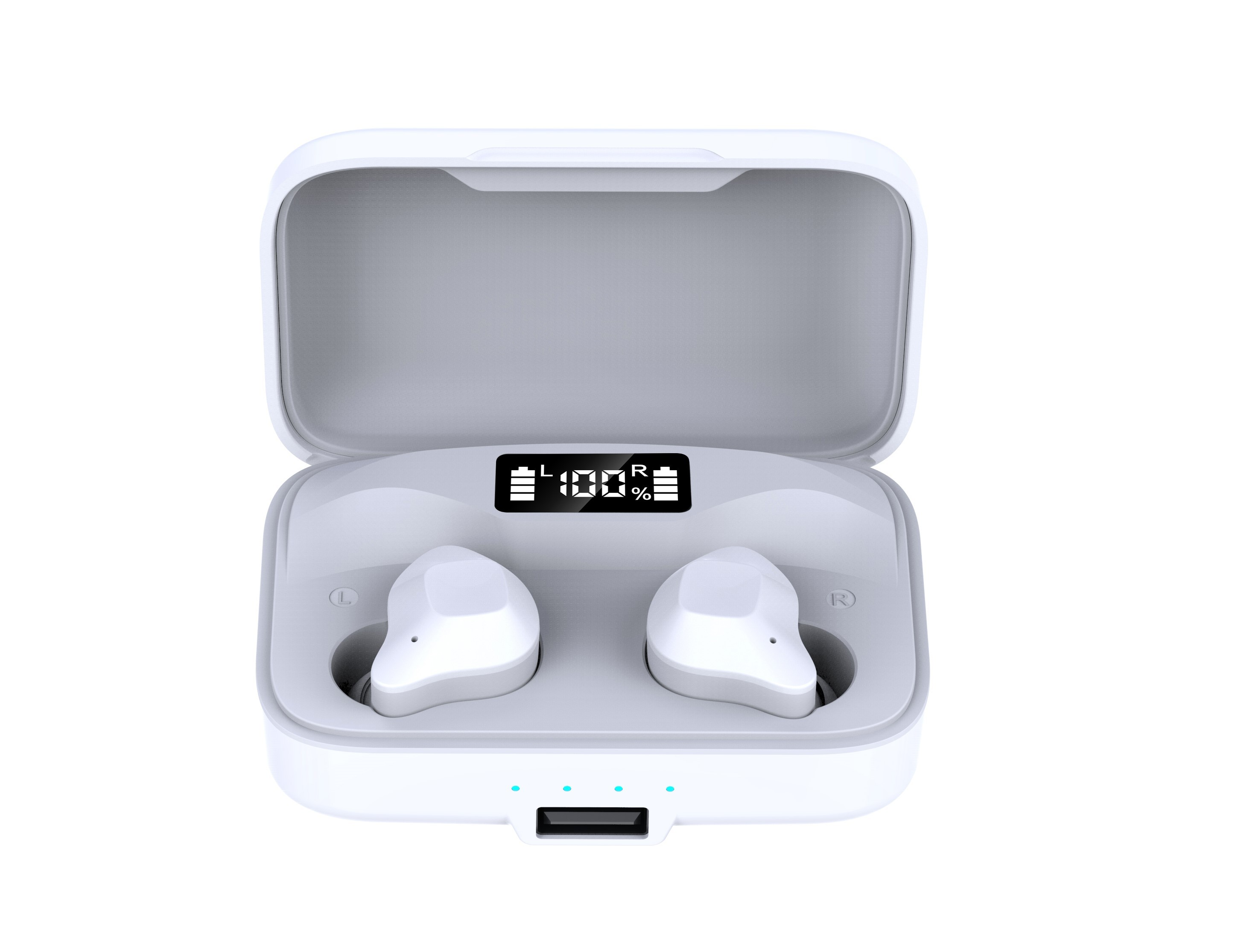 Casti Smart Techstar® TWS S15S, Wireless, Bluetooth V5.0, HD Audio, Touch, iOS, Android, Type-C, 1500mAh, Alb