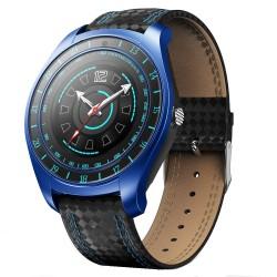 Ceas Smartwatch Techstar® V10 Albastru, Carbon Metal, Cartela SIM, 1.22 inch, Alerte Sedentarism, Hidratare, Bluetooth 4.0
