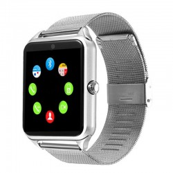 Ceas Smartwatch Techstar® Z60 Silver, Cartela SIM, 1.54 inch, Apelare, Radio FM ,Alerte Sedentarism, Hidratare, Bluetooth 4.0