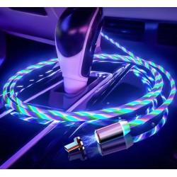 Cablu Incarcator magnetic pentru telefon cu 3 capete si cablu iluminat+cadou