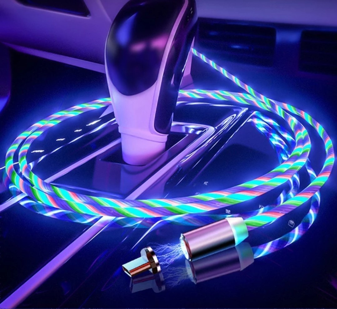 Cablu Incarcator magnetic pentru telefon cu 3 capete si cablu iluminat+cadou imagine techstar.ro 2021