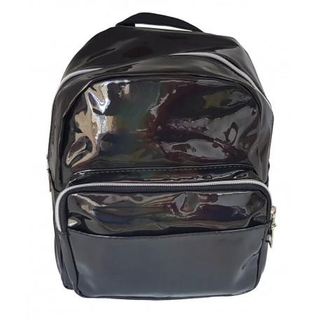 Rucsac holographic, casual sau pentru scoala, pentru femei sau fete, negru, Bonus penar