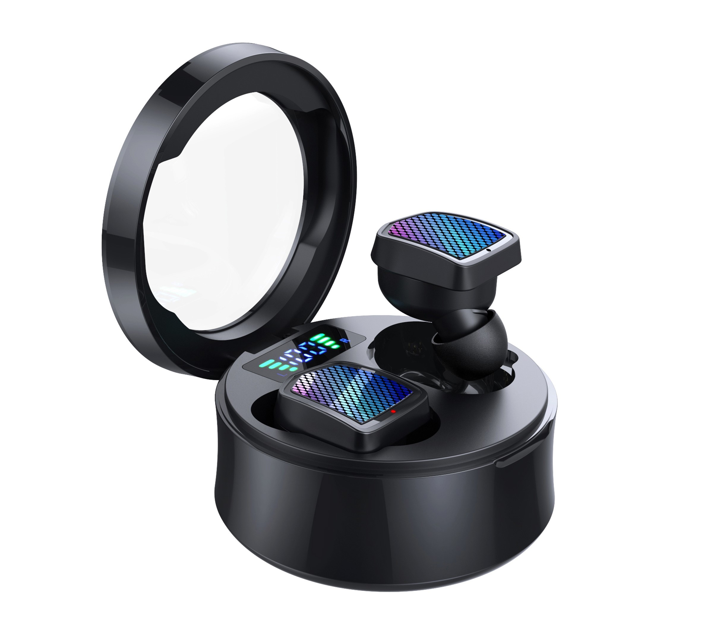 Casti Smart Techstar® TWS S30, Wireless, Bluetooth V5.0, IPX6, HD Audio, Touch, iOS, Android, Type-C, Negru imagine techstar.ro 2021