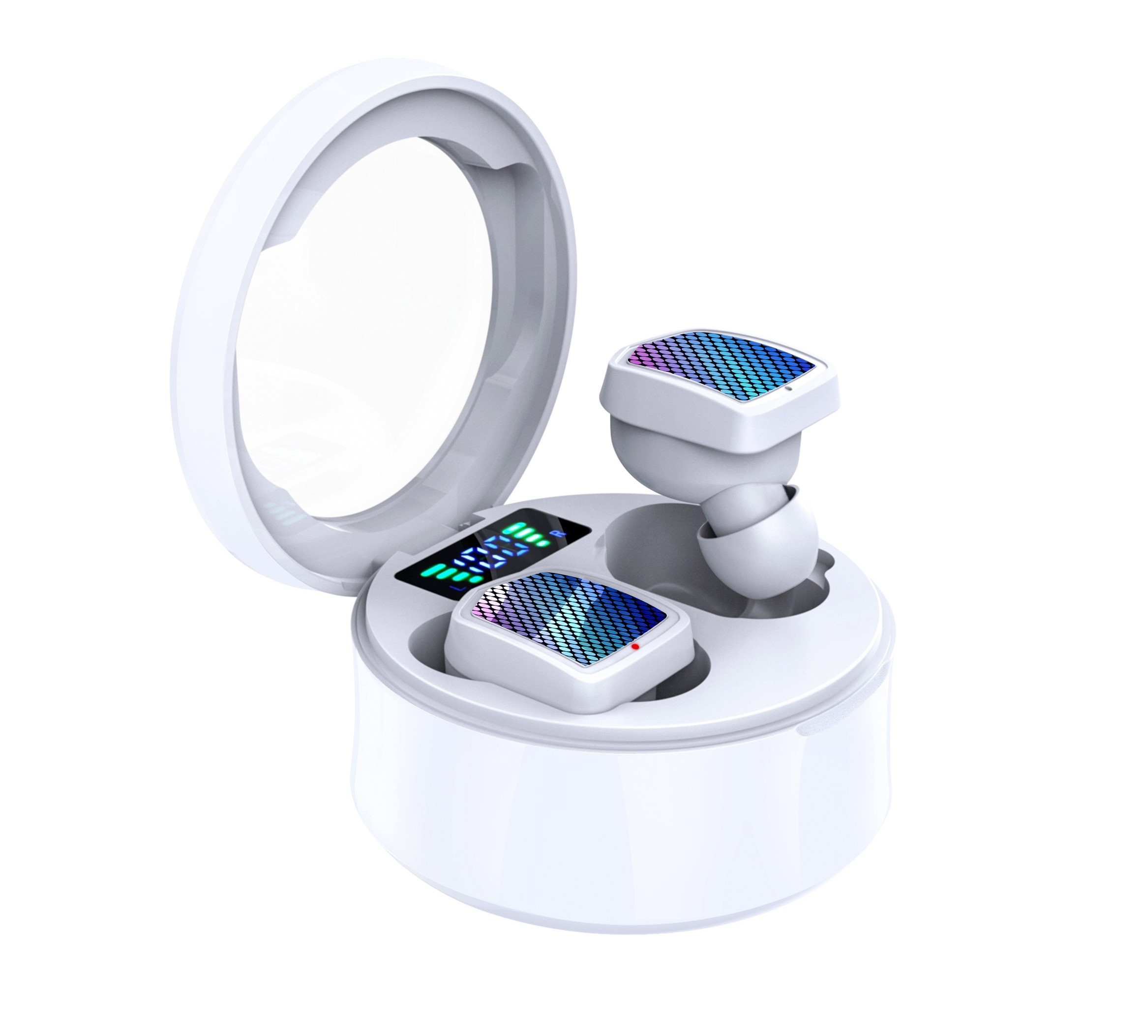 Casti Smart Techstar® TWS S30, Wireless, Bluetooth V5.0, IPX6, HD Audio, Touch, iOS, Android, Type-C, Alb