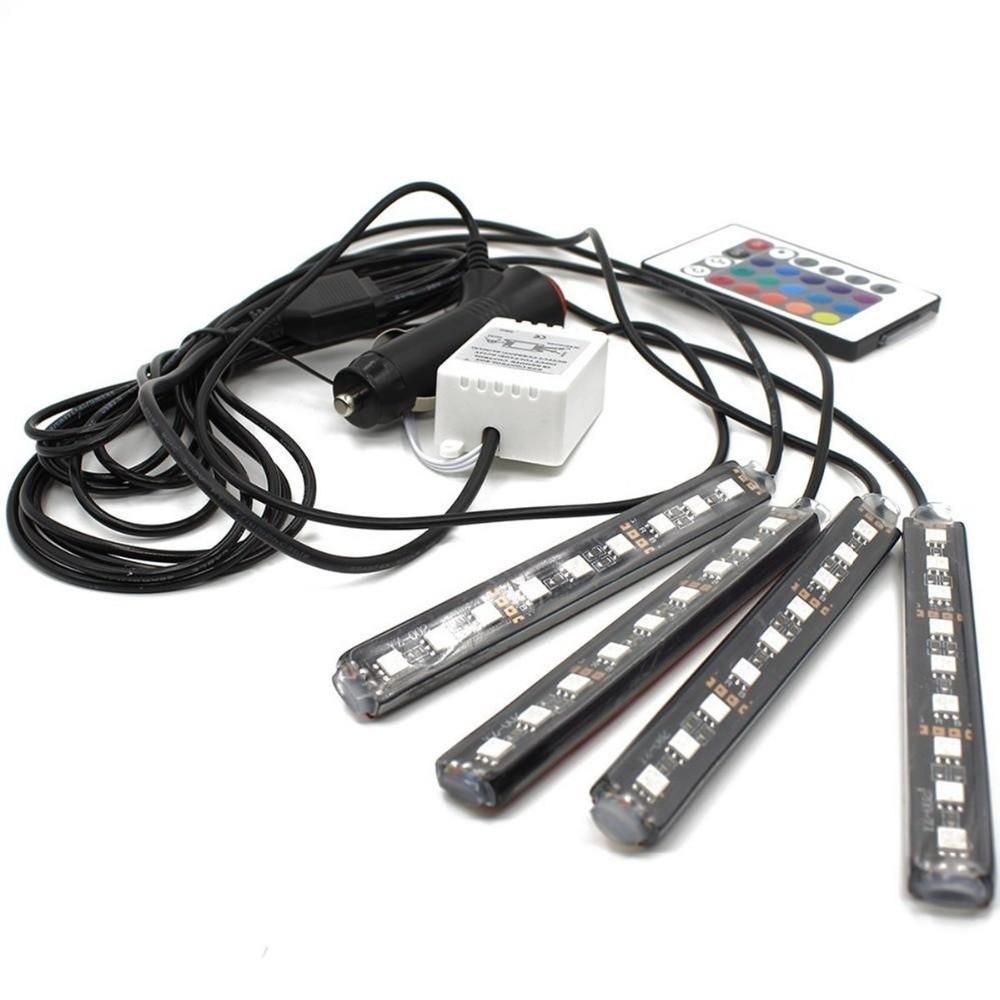 LED RGB 4 Pcs, car atmosphere lamp remote control 12cm, 9 ld-uri imagine techstar.ro 2021