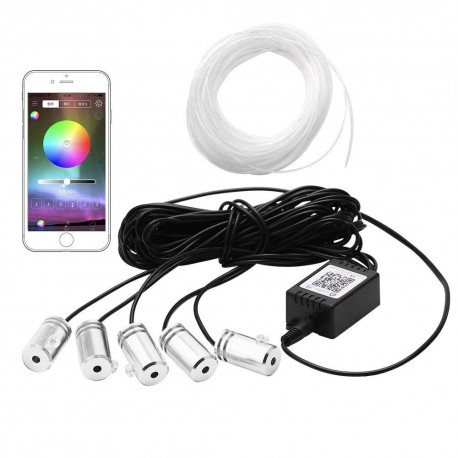 Fir neon luminos RGB 6 metri cu aplicatie prin Bluetooth