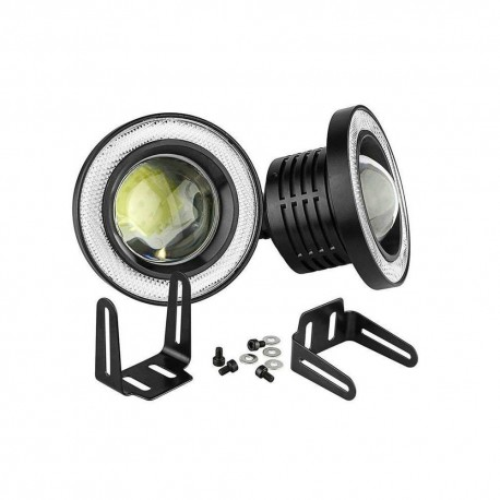 Set 2 proiectoare Auto, LED cu lupa si Angel Eyes 64mm