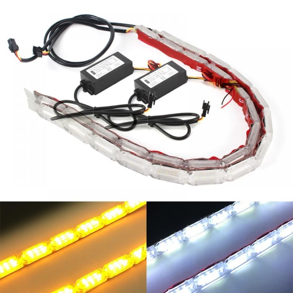 Set 2 buc banda leduri flexibila, DRL cu semnalizare secventiala, 10 LED, 31cm imagine techstar.ro 2021