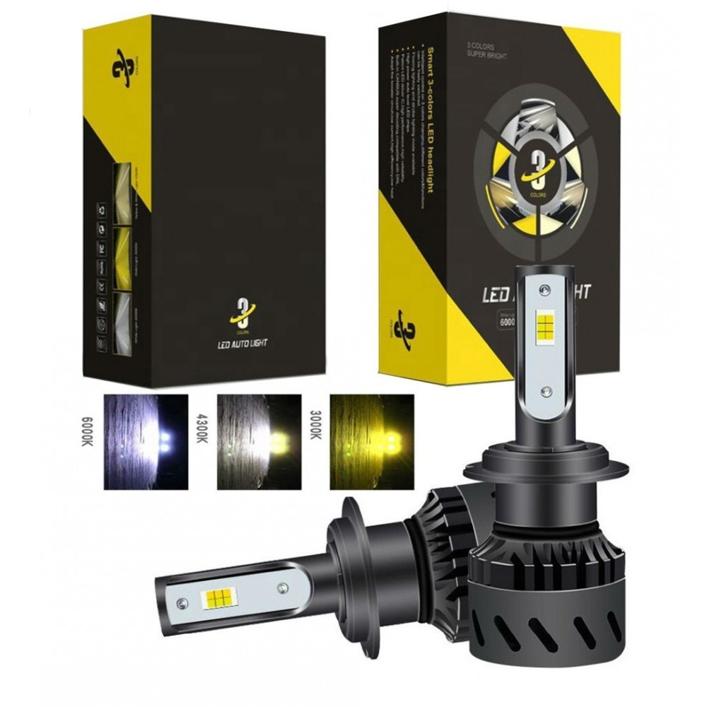Set becuri LED auto K9, 40W, 12000Lm, schimbare culoare 3000k, 4300k si 8000k - H7 imagine techstar.ro 2021