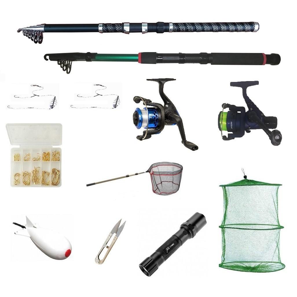 Set pescuit sportiv cu 2 lansete 2,4m, doua mulinete cu rulmenti, minciog, spomb, ace, juvelnic, lanterna led