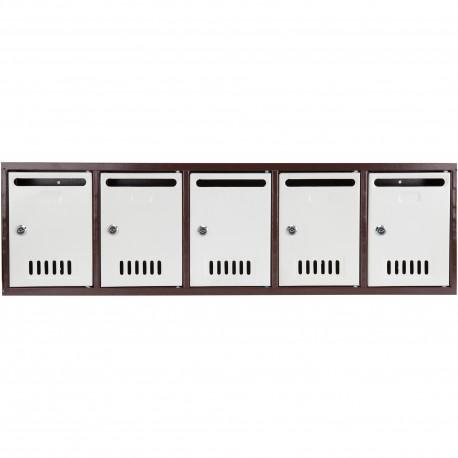 Modul 5 cutii postale Evotools, 2 chei, 910 x 260 x 76 mm, Otel, Gri/Maro, Cifre Auto-Adezive Cadou