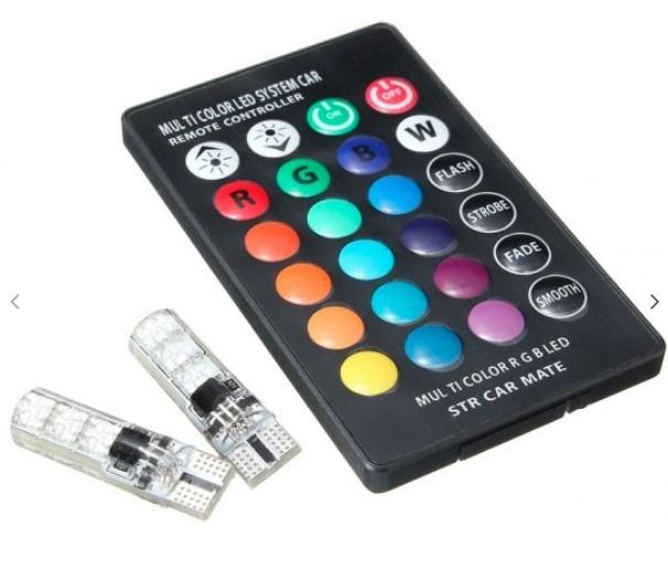 Set 2 becuri LED auto RGB cu telecomanda imagine techstar.ro 2021