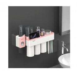 Dozator pasta de dinti cu suport magnetic pentru 3 pahare, 6 periute si suport telefon mobil