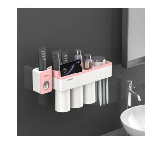 Dozator pasta de dinti cu suport magnetic pentru 3 pahare, 6 periute si suport telefon mobil imagine techstar.ro 2021