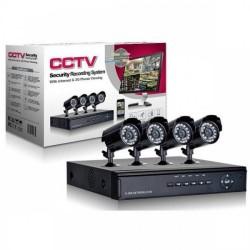 Sistem DVR cu 4 camere de supraveghere pentru interior sau exterior