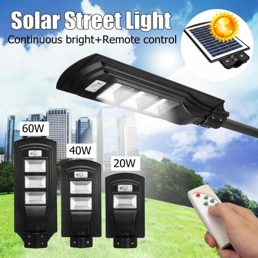 Lampa stradala 90W cu panou solar, acumulator, senzor de miscare,suport de prindere inclus