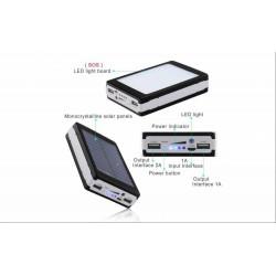 Baterie externa 10000 mAh cu incarcare solara si lanterna 20 LED