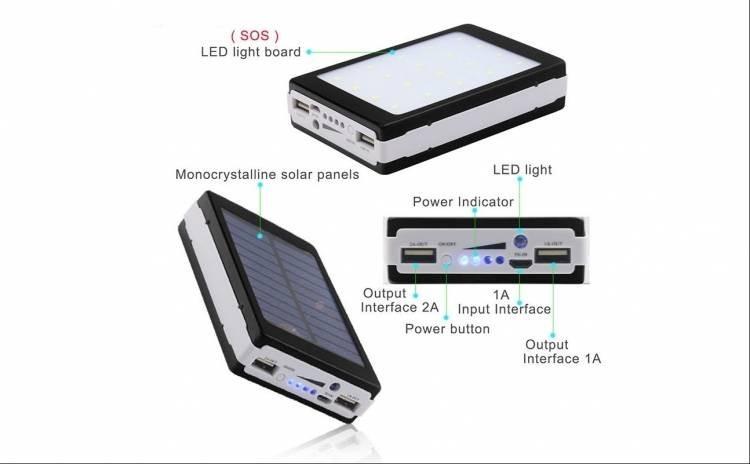 Baterie externa 10000 mAh cu incarcare solara si lanterna 20 LED imagine techstar.ro 2021