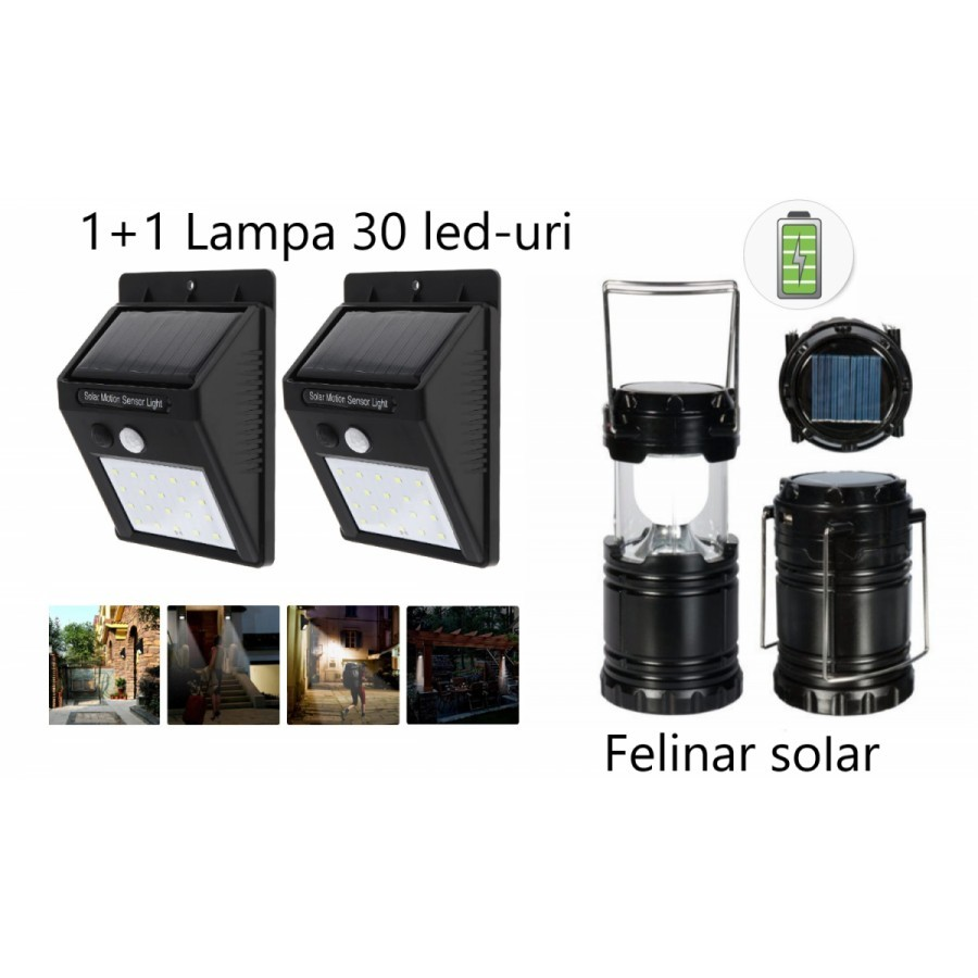 Pachet iluminat:Set 2 lampi solare +Felinar Led Panou Solar si functie de Baterie externa imagine techstar.ro 2021