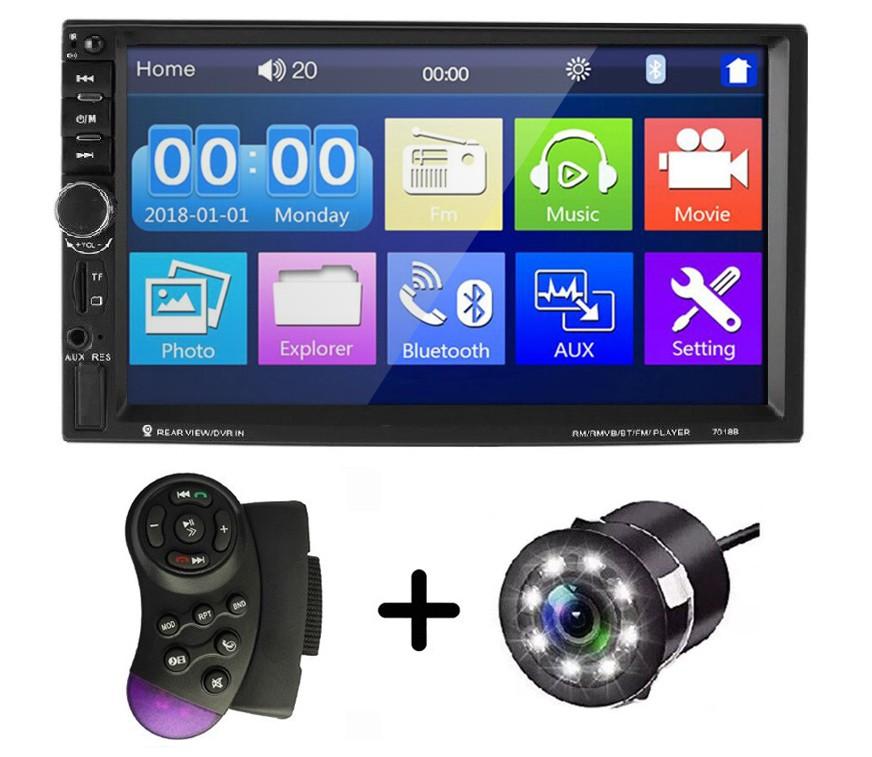 """MP5 Player Auto Universal 7018B, WinCE, Camera Marsarier, Ecran HD Touch 7"""""""", Comenzi Volan, Telecomanda, MirrorLink, Bluetooth imagine techstar.ro 2021"""