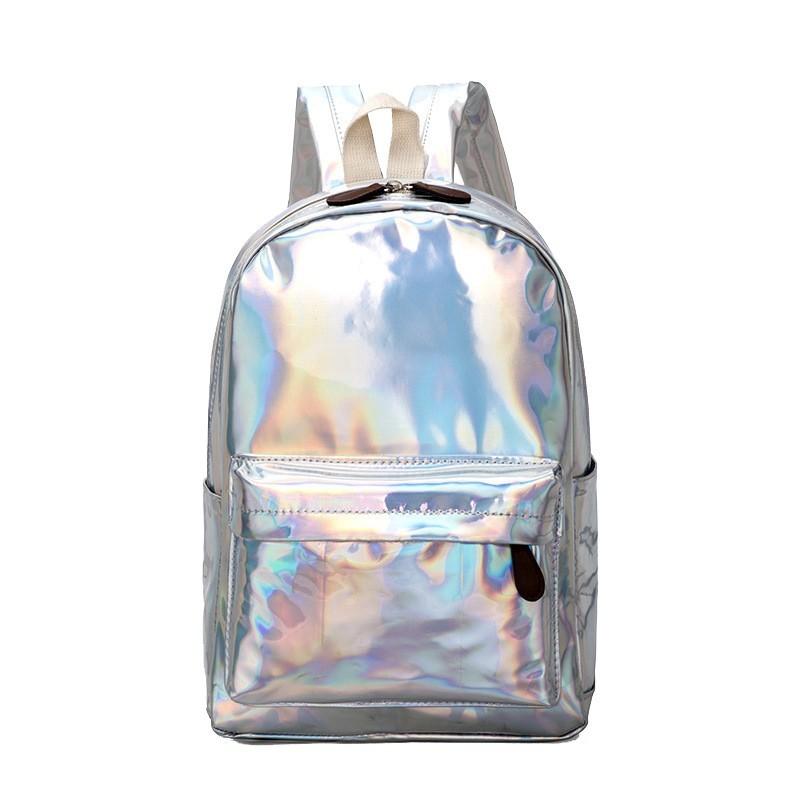 Rucsac holographic, casual sau pentru scoala, pentru femei sau fete, argintiu