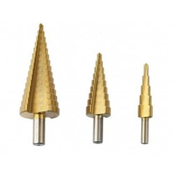 Set 3 Burghiu conic metal in trepte, spiral conic 4-32 mm