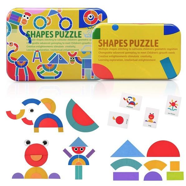 Puzzle Shapes, jucarie educativa puzzle forme geometrice din lemn imagine techstar.ro 2021