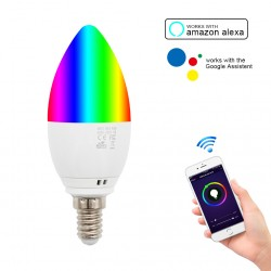 Bec Smart Techstar®, Wireless, 2.4GHz, RGBW, 4W, E14, Lumina Calda, Lumina Rece, Corp Aluminiu