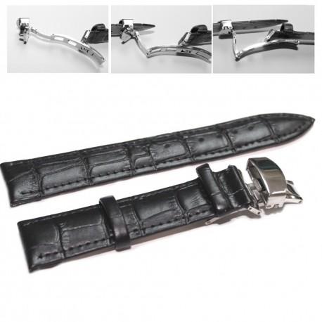 Curea ceas piele neagra Deployant 18 mm 20 mm 22 mm 24 mm